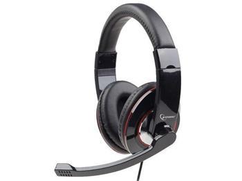 Gembird stereo sluchátka a mikrofon s regulací hlasitosti, černé - MHS-001