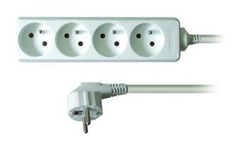 Kabel 250V/10A prodlužovací přívod 10m, 4 zásuvky, bez vypínače - pp4-10