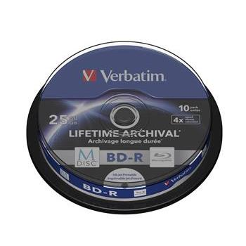 Blu-ray BD-R M-Disc Verbatim 25GB 4x Printable, 10-cake - 43825