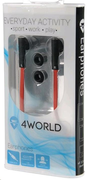 4World Sluchátka MP3 Flat 3.5mm 1.2m Red/Black - 08482
