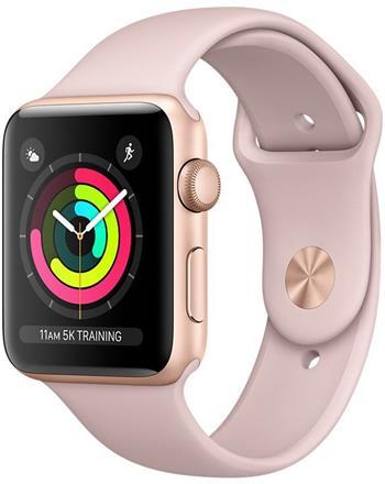 Apple Watch Series 3 42mm zlatý hliník s pískově růžovým sportovním řemínkem - MQL22CN/A