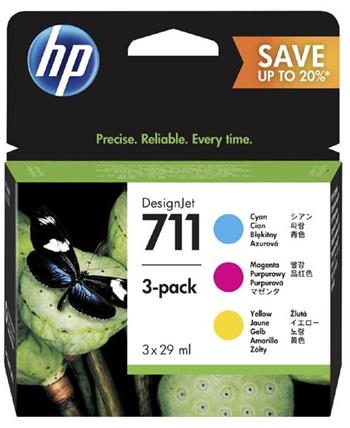 HP 711 CMY Ink Cartridge 3-Pack, P2V32A - P2V32A