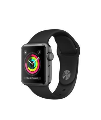 Apple Watch Series 3 38mm vesmírně šedý hliník s černým sportovním řemínkem - MQKV2CN/A