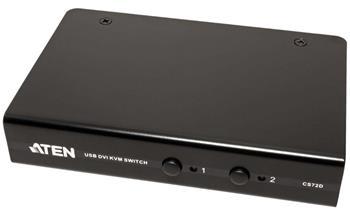 Aten CS-72D DataSwitch elektronický 2:1 (kláv.,DVI,myš,audio) USB, kabely - CS-72D
