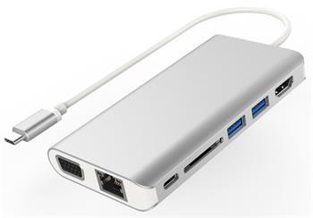 PremiumCord Převodník USB3.1 typ C na HDMI+VGA+RJ45+2xUSB3.0+SD card +3,5mm+PD charge - ku31dock08