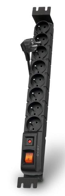 Acar S8 FA Rack 3m kabel, 8 zásuvek, přepěťová ochrana, do racku, černá - ppacars8-3rack