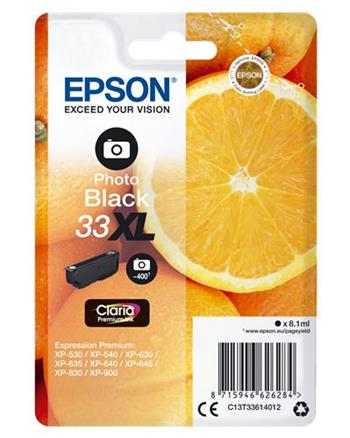 Epson Singlepack Photo Black 33XL Claria Prem. Ink - C13T33614012