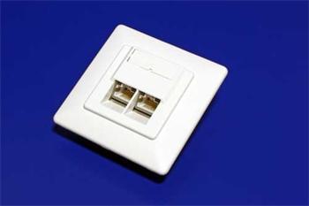 STP/FTP zásuvka pod omítku, cat.6, 2x RJ45, šikmý vývod zpředu - 25.16.8492
