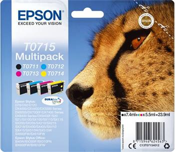 Epson ink, Multipack - 4 ink, DurabriteUltra, Stylus D78,DX4000/4050/5000/5050/6 - C13T07154010