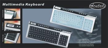 Klávesnice ACUTAKE ACU-DARKKEYBOARD 1 (Multimedia USB+PS/2) US - SFTX608