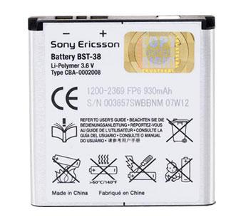Baterie Sony Ericsson BST-38 Li-Pol 930 mAh pro K850/S500/T650 - BST-38