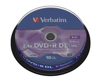 DVD+R Double layer Verbatim 8x spindl po 10ks 8,5GB - 43666