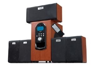 GENIUS SW-HF5.1 6000W, 5.1, 200W RMS, dark wood, LCD - 31730022101