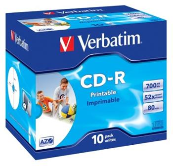 CD-R 80 min. Verbatim 52x Printable jewel box, 10ks/pack - 43325