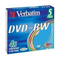 DVD-RW 4.7GB Verbatim- 4x slim color (5-Pack) - 43563