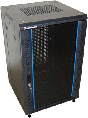 """XtendLan 19"""" rozvaděč 32U/600x800 stojanový,černý,skl.dveře,perf.záda-S - TELCO-32U-68-BLACK-S"""