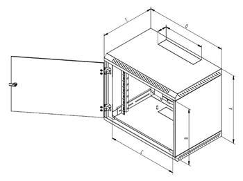 "Triton 19"" rozvaděč jednodílný 9U/400mm, celoplechové dveře - RBA-09-CS4-XAX-A1"