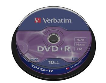 DVD+R Verbatim 16x spindl po 10ks - 43498