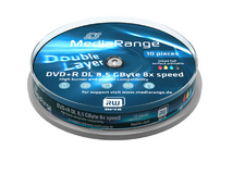 DVD+R Double layer MEDIARANGE 8,5GB 8x PRINTABLE spindl 10pck/bal - SFTX266