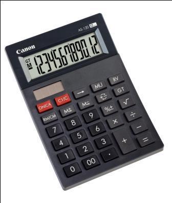Canon kalkulačka AS-120, 12míst, fce reverze a total, dual power - 4582B001AA